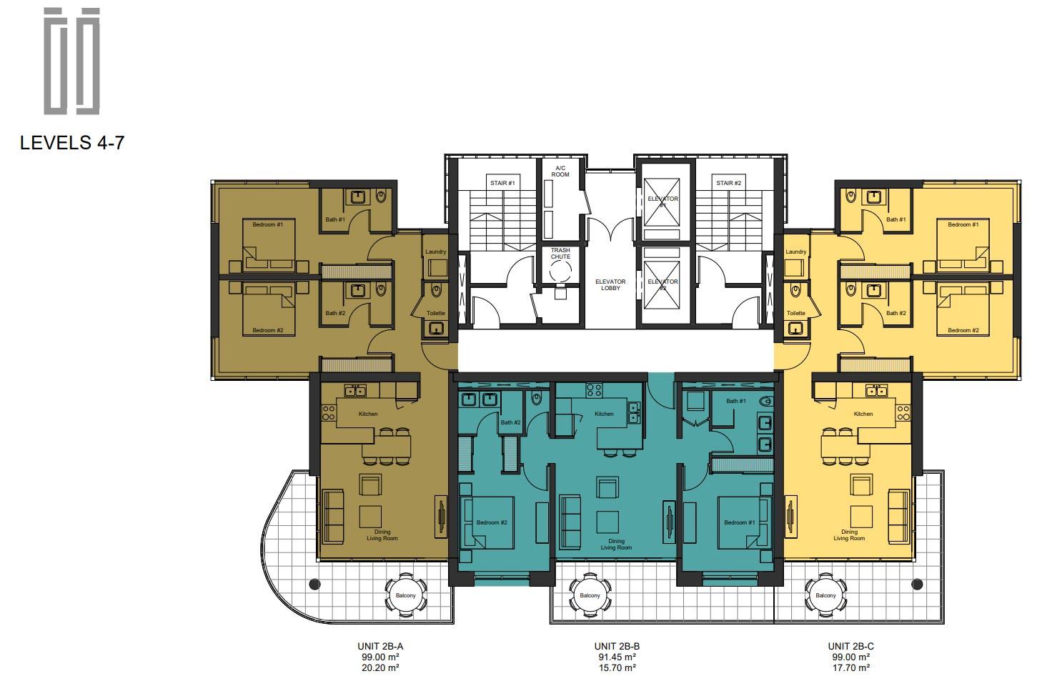 Floor Plan Levels 4 to 7
