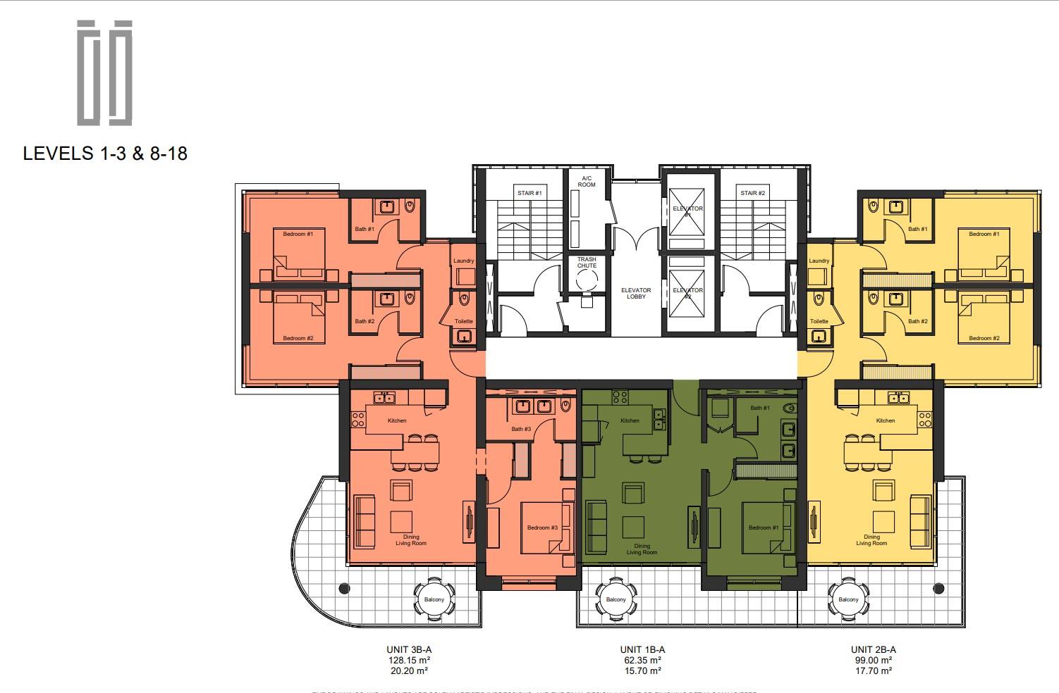 Floor Plan Levels 8 to 18