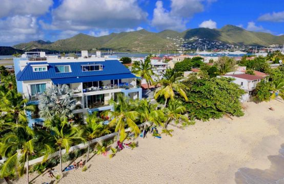 Le Papillon is a beachfront property with direct access to the beach and garden
