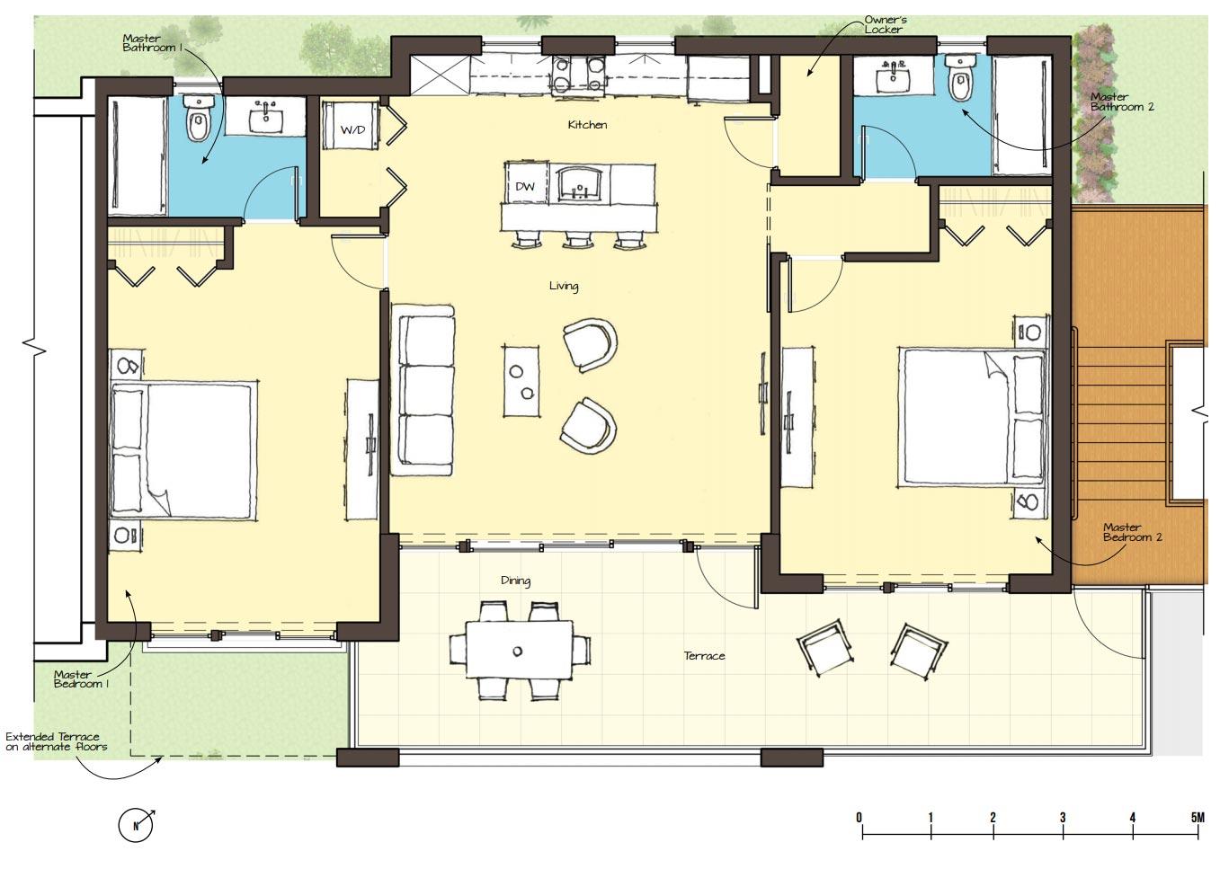 Indigo Green Two Bedroom Condo Floor Plan